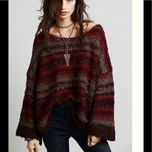 Free People Red Stripe Chunky Sweater
